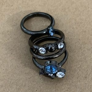Stacked Ring Set - Blue and White Gems